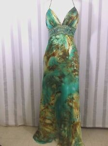 NWT Morrell Maxie $480 Multi Silk Evening Party Gown 4