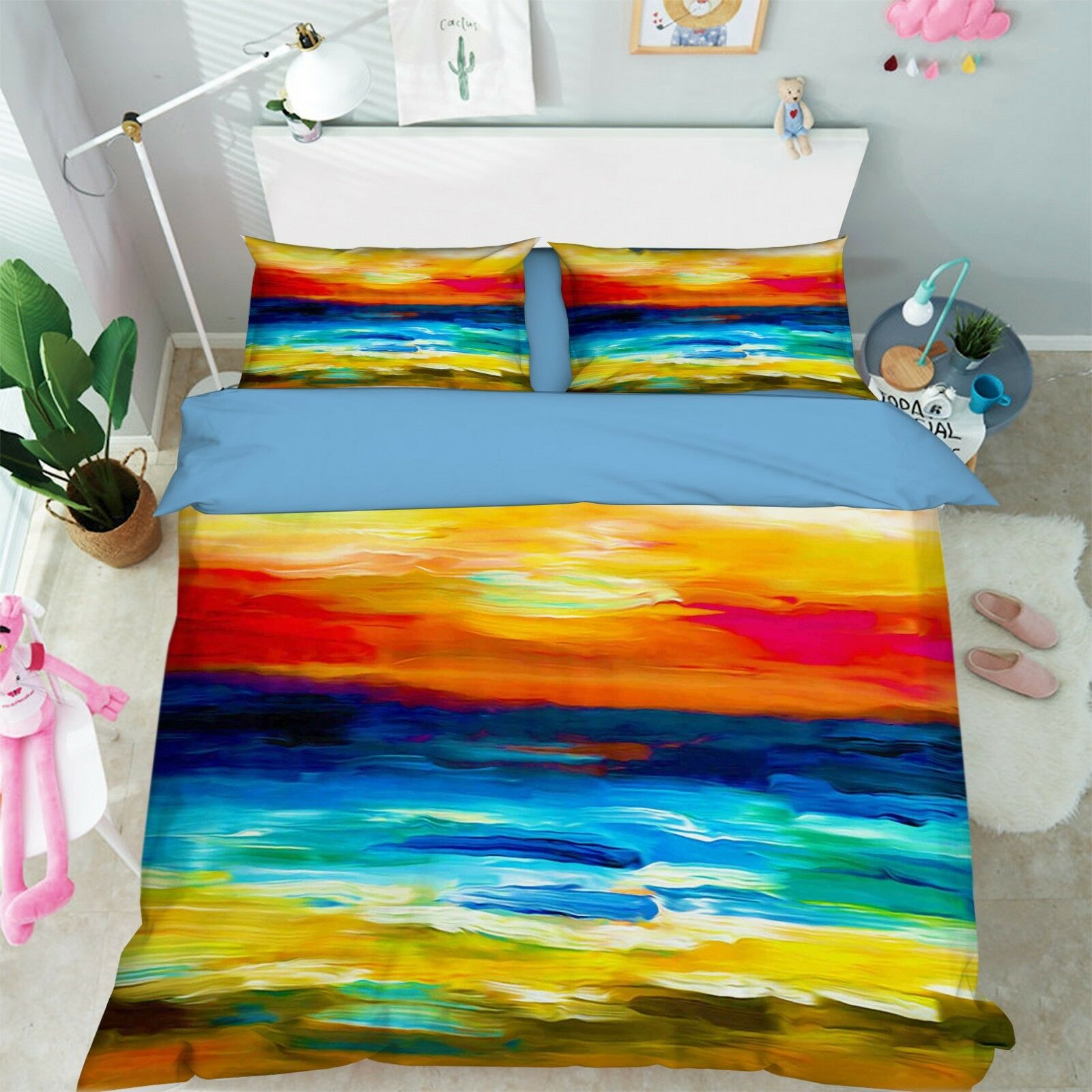 3D Oil Painting Sea 7 Bed Pillowcases Quilt Duvet Cover Set Single Queen King CA