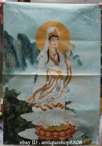 36-034-Tibet-Silk-Satin-Guanyin-Kwan-yin-Goddess-Avalokiteshvara-Thangka-Mural