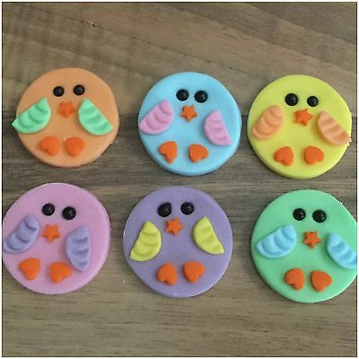 6 EASTER Edible Pastel Chicks Sugar Cake Cupcake Toppers Decorations