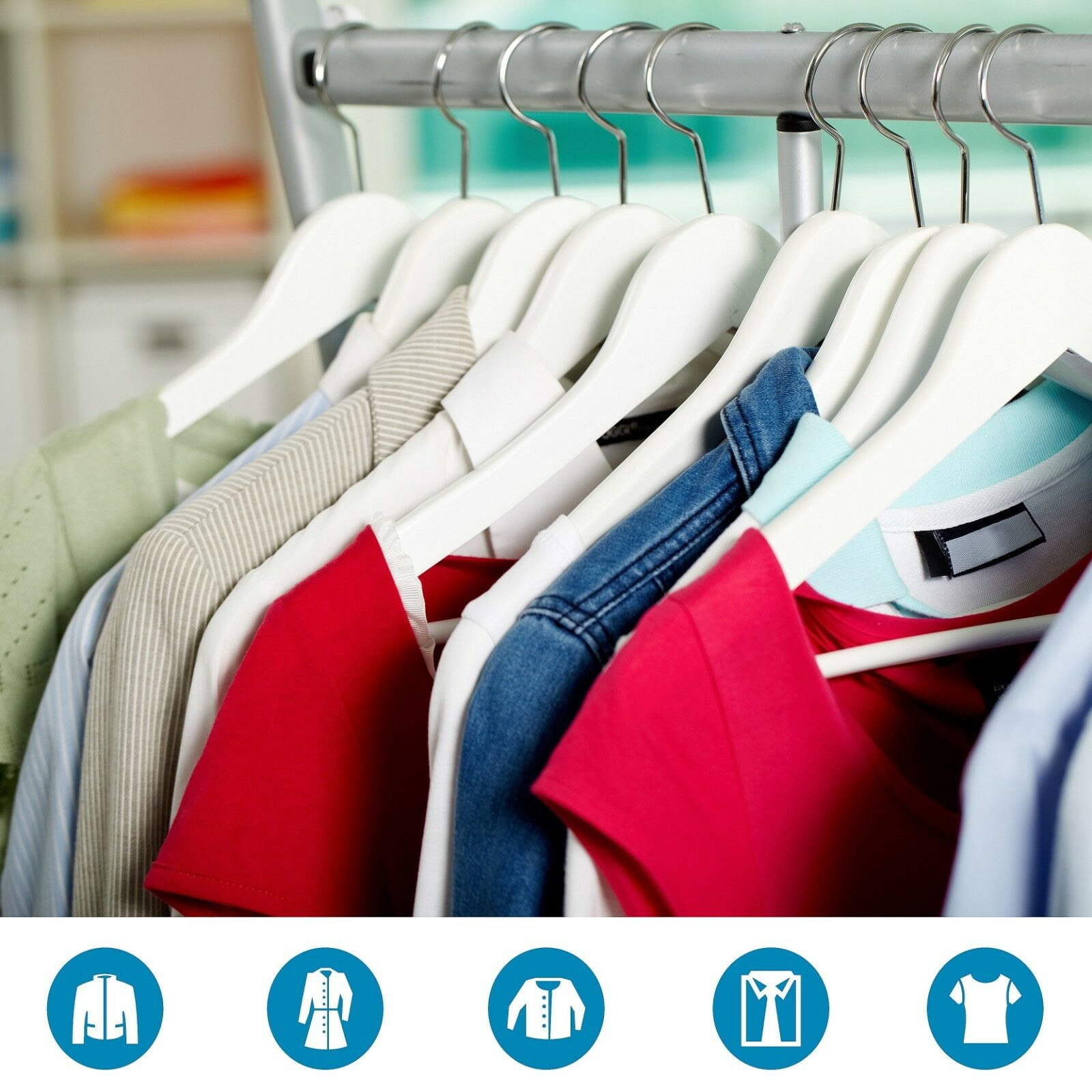 2 2 2 - 200 Weiß Wooden Coat Hangers Suit Trouser Garment Clothes Coat Hanger Bar 98a5ba