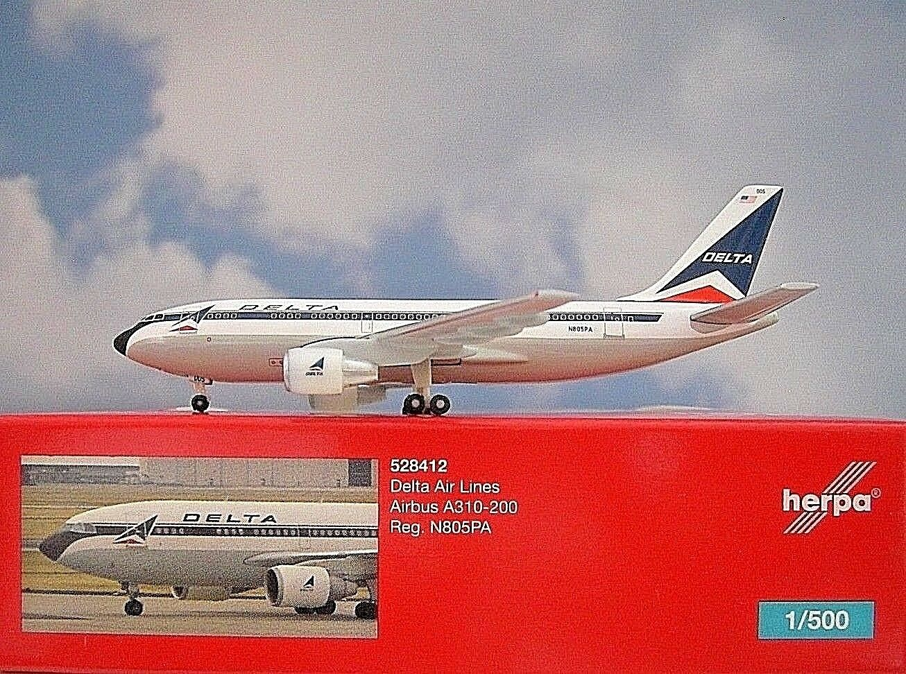 Herpa Herpa Herpa Wings 1 500 Airbus A310-200  Delta Airlines N805PA 528412 Modellairport500    Ausgezeichnet  dbddba