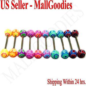 W016-Acrylic-Tongue-Rings-Barbells-Hexagon-Shape-LOT-10
