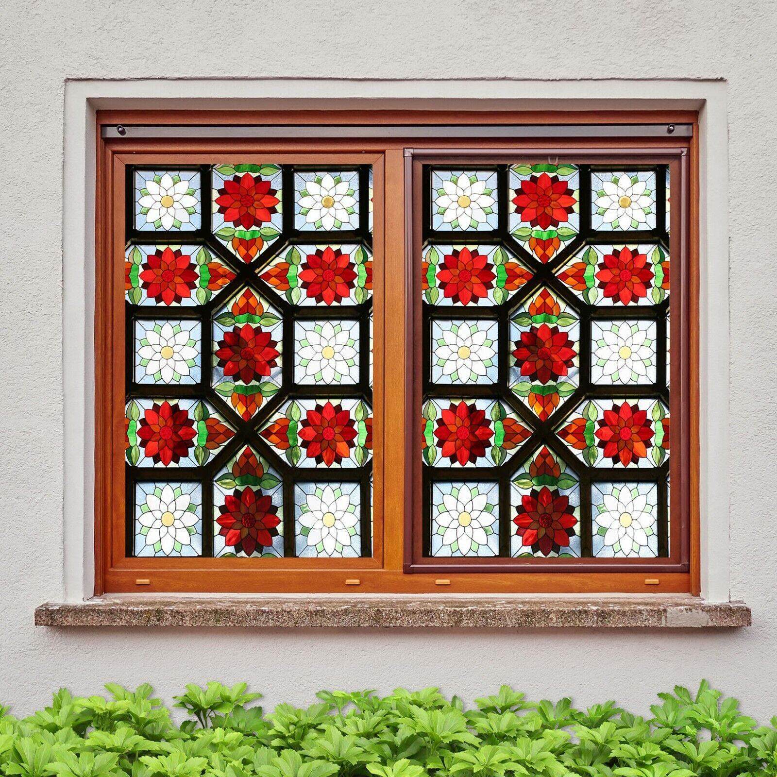 3D Window Grille N506 Window Film Print Sticker Cling Stained Glass UV Block Amy