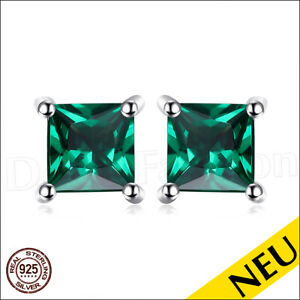 NEU-OHRRINGE-Smaragd-925-Sterling-SILBER-Ohrstecker-GRUN-Rhodiniert-Luxus