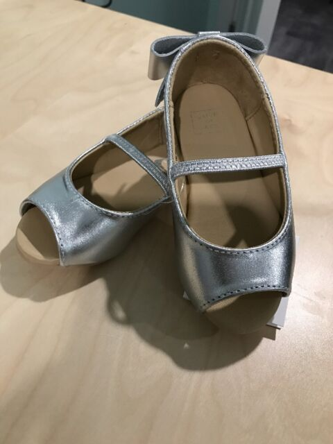 070e9bdc9b336 New Janie And Jack Baby Girl Shoes Metallic Flats Shoes With Back Bow Size 5