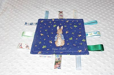Sensory Large Handmade baby ribbon Taggie Peter Rabbit PERSONALISED