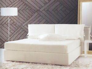 Letto Bianco Con Contenitore.Letto Matrimoniale In Tessuto Bianco Con Contenitore Camera Da Letto