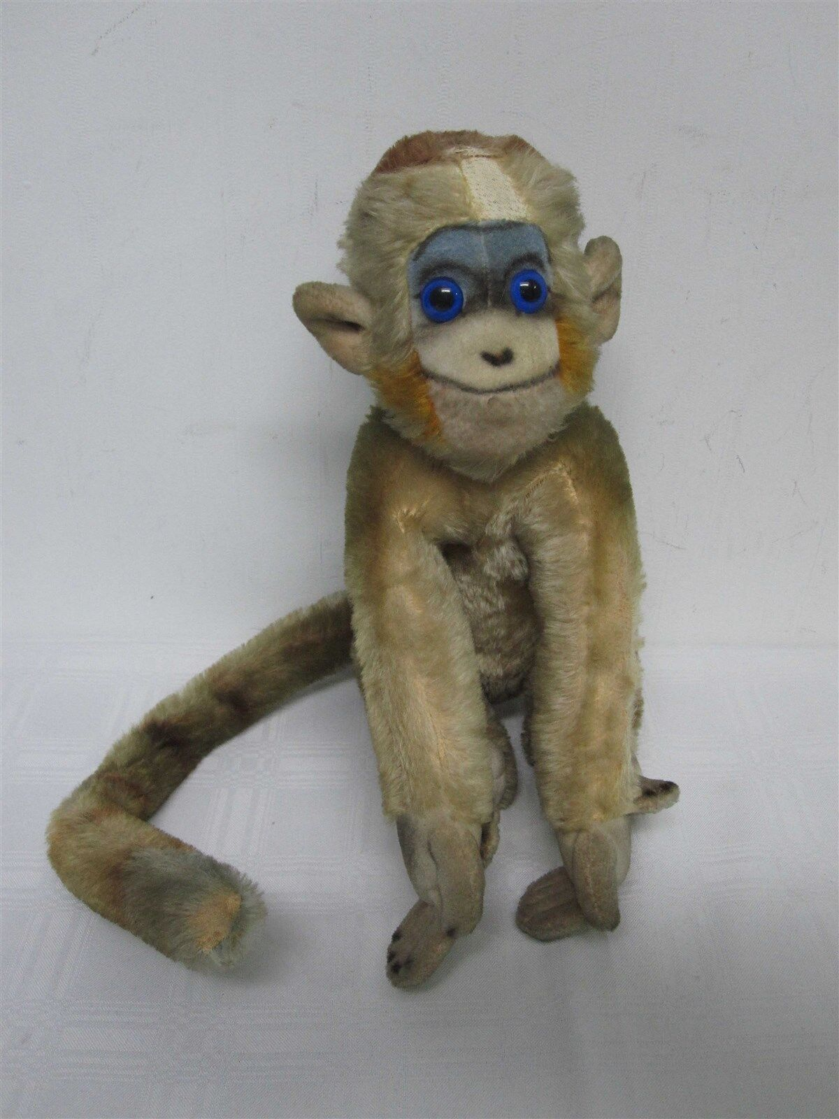 VINTAGE STEIFF MOHAIR MUNGO MONKEY with LONG TAIL & blueE EYES 12