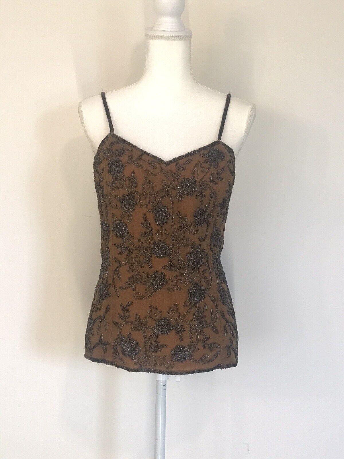 New Mannat Creations Bronze Silk Beaded Strapless Top Size 2X