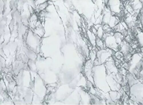 2m x 67.5cm LIGHT GREY WHITE MARBLE STICKY BACK PLASTIC SELF ADHESIVE VINYL FILM