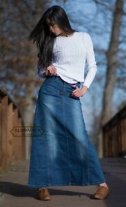 LONG DENIM SKIRT - WOMEN'S DENIM SKIRTS - MODEST JEANS | BLUE | J ...
