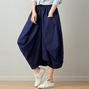 a5aeea2f5ae Plus Size Women Linen Skirts Retro Casual Stretch Oversized Baggy ...