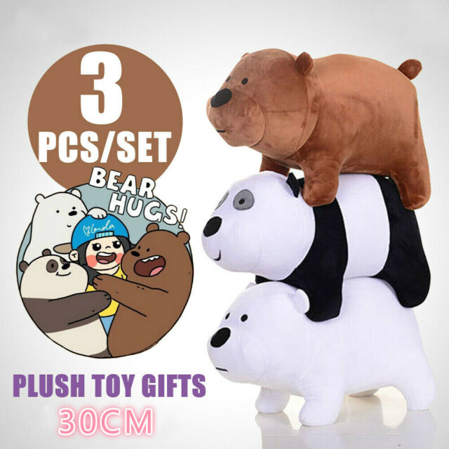 Groovy 12 Cute We Bare Bears 3Pcs Plush Toy Birthday Gift 30Cm Tall Tv Figure Doll Kid Gmtry Best Dining Table And Chair Ideas Images Gmtryco