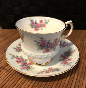 QUEEN-ANNE-Bone-China-England-TEA-CUP-amp-SAUCER-SET-Roses-Pale-Blue-Wash