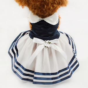 "Pet Palace® ""Sailor Girl"" Navy & White Dress for posh port pups & FREE LED TAG!"