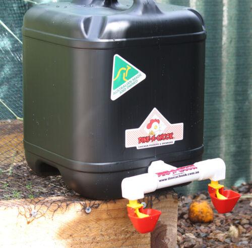 DINE-A-CHOOK 3.5L Poultry Chook Feeder /& 20Ltr Lubing Drum Drinker Chicken