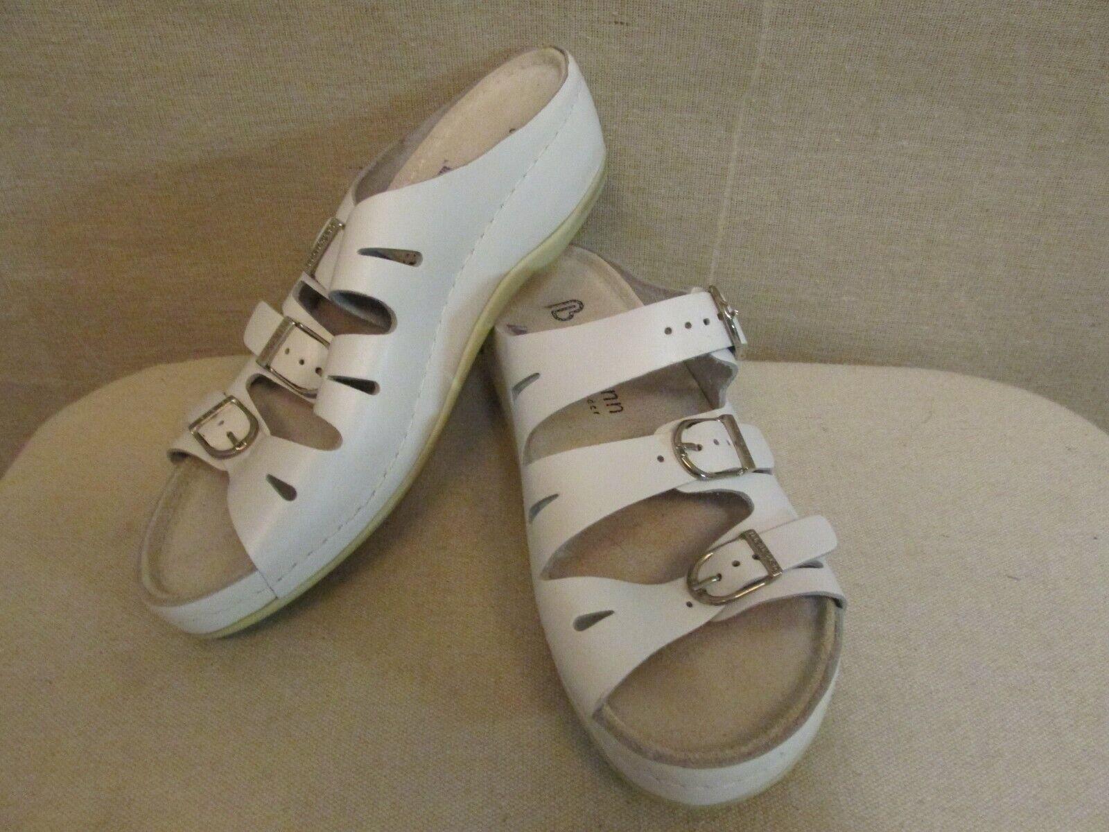 26d4672cbb15a Berkemann White Leather Buckle Sandals shoes US 6.5 UK 4 EU 37 ...