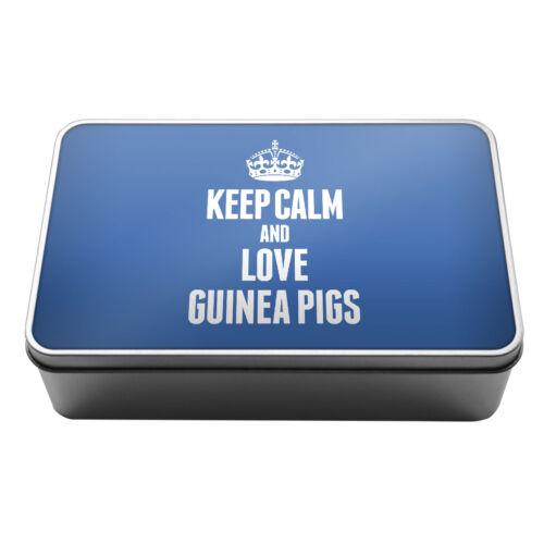BLUE Keep Calm and Love Guinea Pigs Metal Storage Tin Box 2434