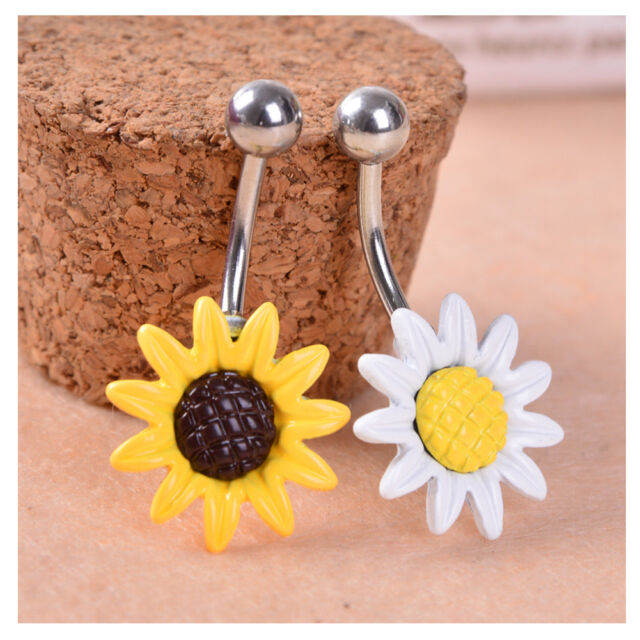 Sunflower Flower Surgical Steel Belly Button Ring Navel Piercing Body Jewelry