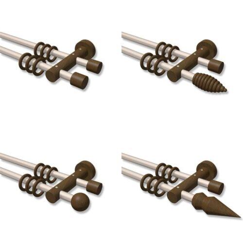 2x Wandlager für Stangen mit Ø 25mm in Satin Mat aus Metall 1-Paar Links+Rechts