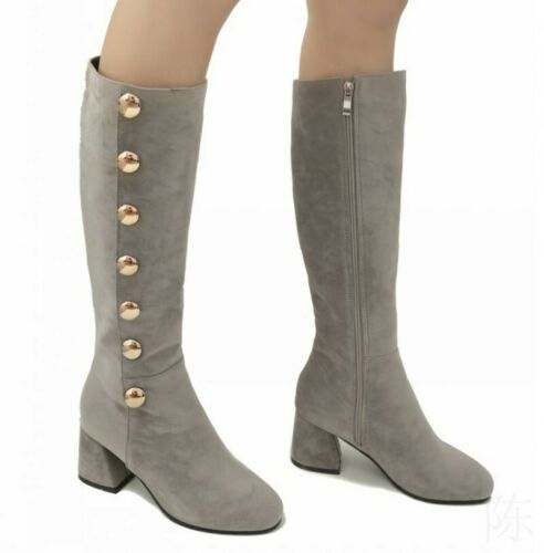 Details about  /Women/'s Zip Mid Calf Knight Boots Rivet Round Toe Suede Fabric Chunky Heel Shoes