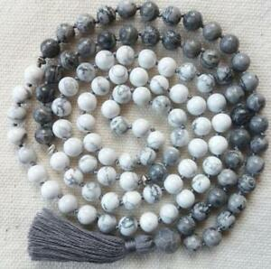 Jasper-and-Howlite-108-Beads-Mala-Knotted-Meditation-Buddhist-Prayer-Necklace