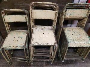 stack of 10 ten antique vintage bistro chairs tolix style ebay