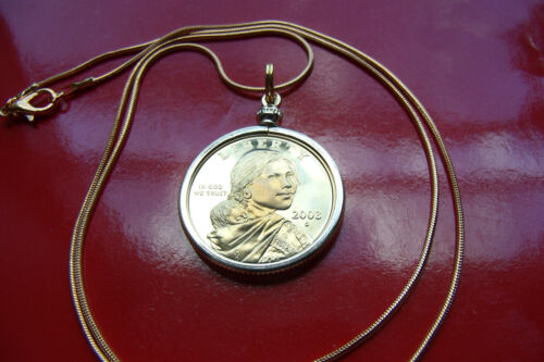 """SACAGAWEA AMERICAN HERITAGE GOLDEN BRASS COIN Pendant on a 24/"""" Gold Filled Chain"""