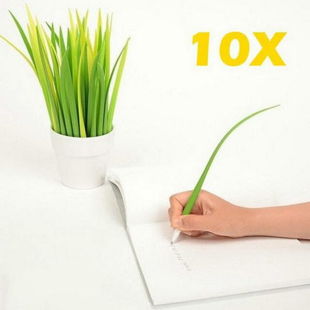 Lot 10  Forest Green Grassblade Ballpoint Silicon Grass Leaf Pen Black ink