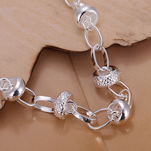 925 Stamped Sterling Silver Filled SF Heart Charm Pendant Bangle Bracelet BL316