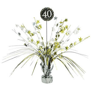 Image Is Loading 40th Birthday Spray Centrepiece Table Decoration Black Silver