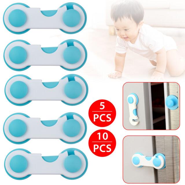 1//5//10 Pack Door Drawer CabInet Safety Locks For Child Kids Baby White//Blue