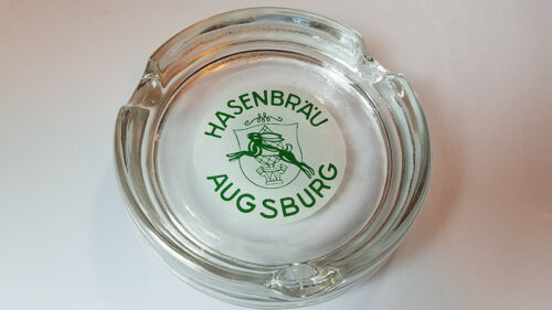 "German Hasenbrau Augsburg Beer 5/"" Round Glass Ashtray"