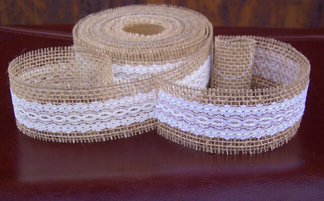 Natural Jute Hessian Burlap Ribbon with Lace Rustic Wedding Decor Floristry