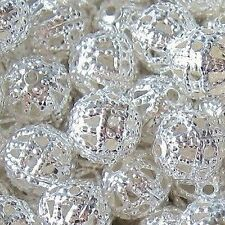 50 pieces 8mm Iron Finding Beads - Silver Tone - A6755
