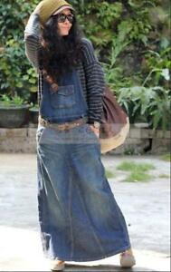 Hot-Womens-Fashion-Washed-Blue-Overalls-Jean-Casual-Loose-Denim-Skirt-Jumpsuits