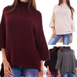Maglione-donna-lana-ampio-collo-alto-pullover-maniche-3-4-mohair-nuovo-CJ-2359