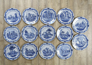 Image is loading Antique-Very-Large-Rare-Set-of-14-Dutch- & Antique Very Large Rare Set of 14 Dutch Delft Plates Biblical Scene ...