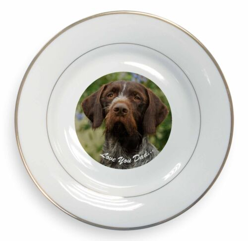 German Pointer /'Love You Dad/' Gold Rim Plate in Gift Box Christmas Pre DAD-48PL