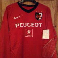 New Nike Toulouse France Peugeot red, black & white rugby long sleeve top size L
