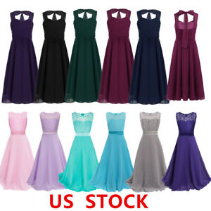 US Flower Girls Dress Weddding Bridesmaid Long Mesh Gowns Birthday Party Pageant