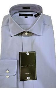 Tommy-Hilfiger-Shirt-Blue-Solid-100-Cotton-Standard-Cuff-Spread-Collar