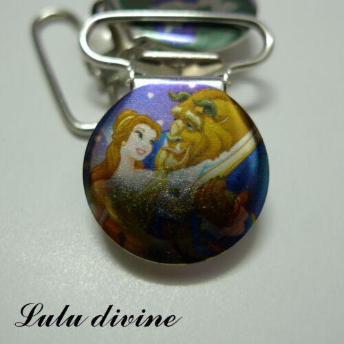 Attache tétine /& doudou bleu 1 Pince bretelle Belle /& son Prince passant 25 mm