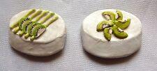 Set of 2 Kiwi cake refrigerator magnets - Handmade in San Francisco