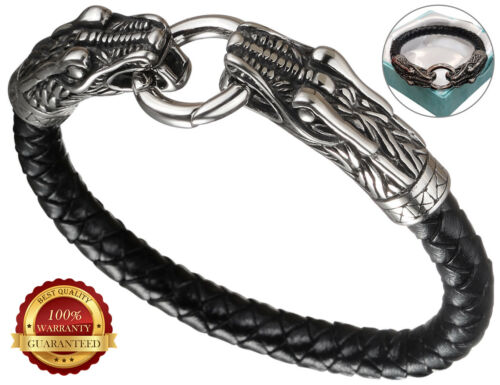 Faux Leather Bracelet Mens Surf Wristband Braided Dragon Head Stainless Steel