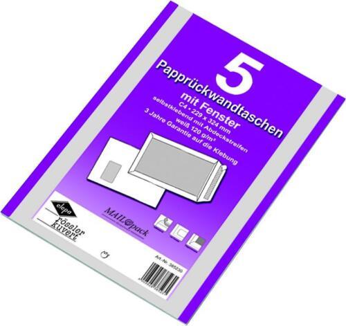 Papprückwandtaschen DIN C4 Versandtaschen Fenster 5x 5 25