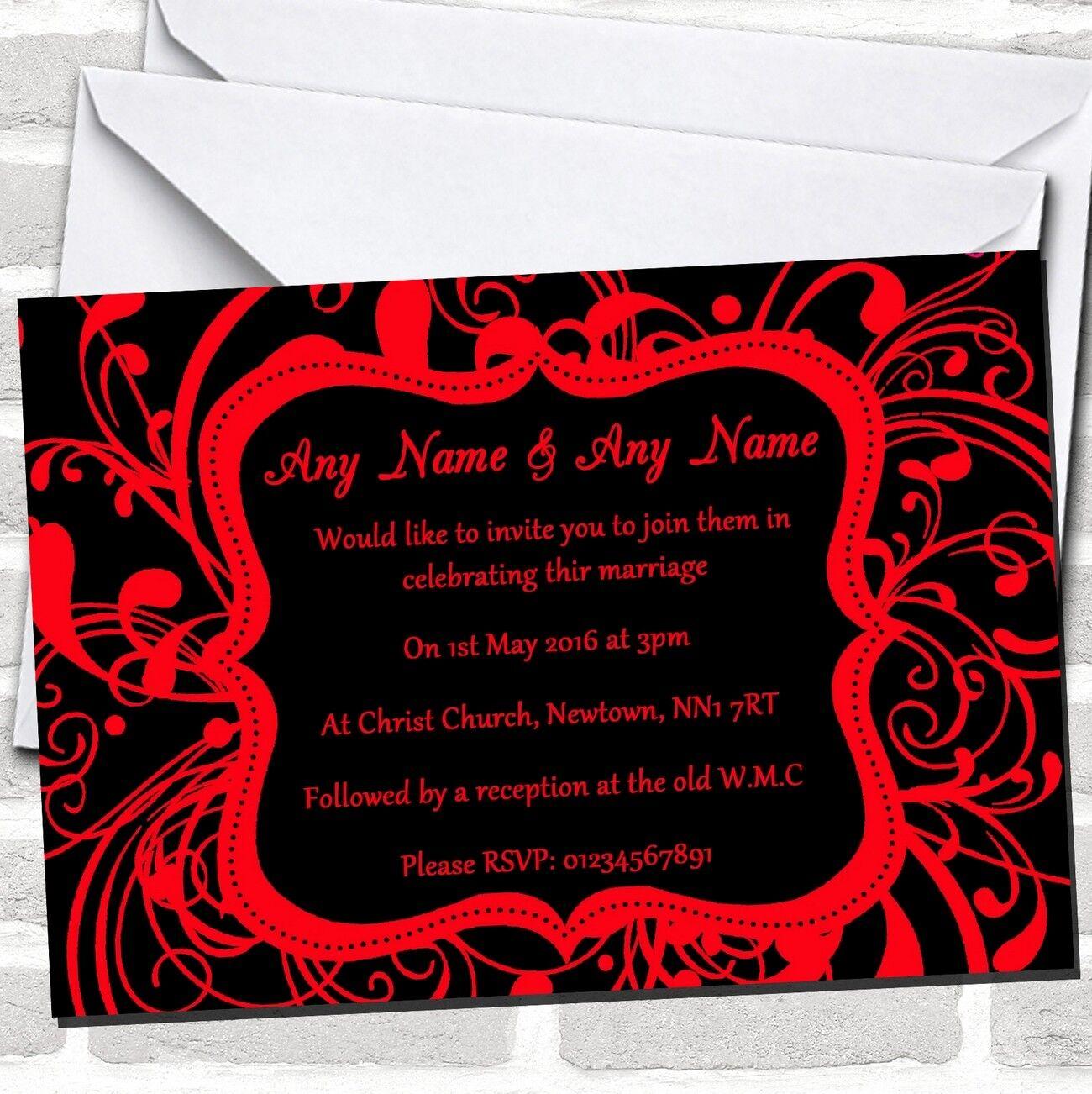 Negro y Rojo Remolino Invitaciones De Boda Deco