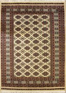 Rugstc 4x6 Bokhara Jaldar White Area Rug, Hand-Knotted,Geometric with Silk/Wool