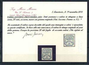 Parma-1853-Sass-15-Nuovo-100-cerificate-Merone